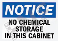 No chemical storage in this cabinet Sign 1