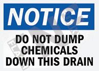 Do not dump chemicals down this drain Sign 1