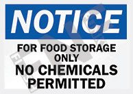 For food storage only Sign 1
