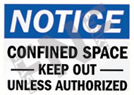 Notice – Confined space – Keep out unless authorized