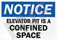 Notice – Elevator pit is a confined space