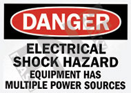 Danger – Electrical shock hazard – Equipment has multiple power sources