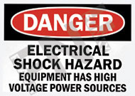 Danger – Electrical shock hazard – Equipment has high voltage power sources