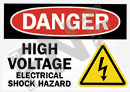 Danger – High voltage – Electrical shock hazard