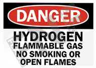 Danger – Hydrogen – Flammable gas – No smoking or open flames