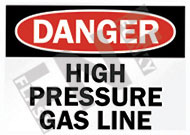 Danger – High pressure gas line