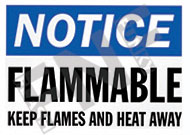 Notice – Flammable – Keep flames and heat away