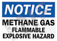 Notice – Methane gas – Flammable – Explosive hazard