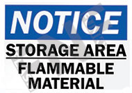 Notice – Storage area – Flammable material