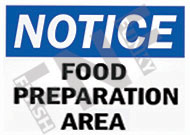 Notice – Food preparation area