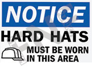 Notice – Hard hats must be worn in this area