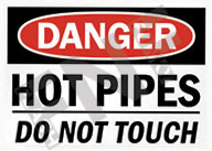 Danger – Hot pipes – Do not touch