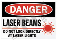 Danger – Laser beams – Do not look directly at laser lights