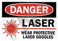 Danger – Laser – Wear protective laser goggles