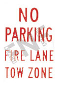 No parking – Fire lane – Tow zone