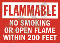 Flammable – No smoking or open flame within 200 feet