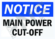 Notice – Main power cut-off