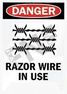 Danger – Razor wire in use