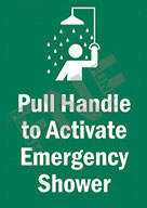 Pull handle to activate emergency shower