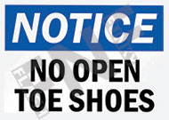 Notice – No open toe shoes