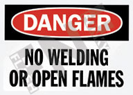 Danger – No welding or open flames