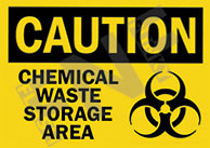 Caution – Chemical waste storage area