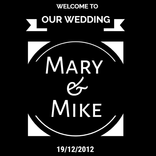 Wedding Sign Vinyl (600 x 900mm)